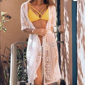Cupshe White lace swim coverup